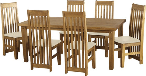Seconique Tortilla Dining Set with 6 Cream Dining Chairs