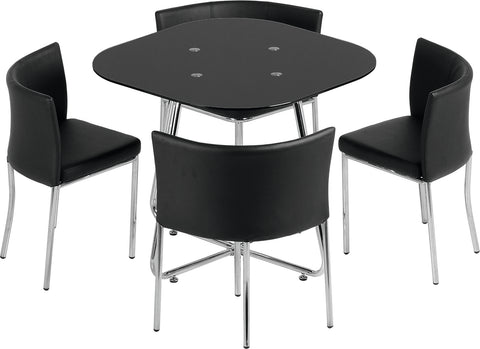 Seconique Washington Stowaway Dining Set - Black Glass/Chrome/Black PU