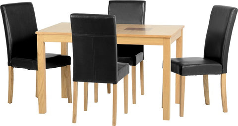 "Seconique Wexford 47"" Dining Set - Oak Veneer/Walnut Inlay/Black PU"