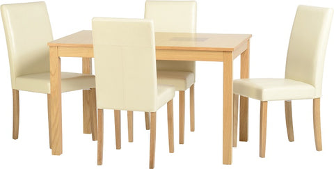 "Seconique Wexford 47"" Dining Set - Oak Veneer/Walnut Inlay/Cream PU"