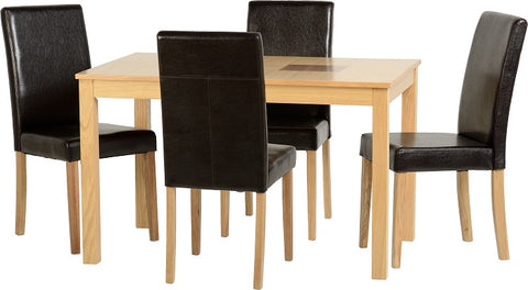 "Seconique Wexford 47"" Dining Set - Oak Veneer/Walnut Inlay/Expresso Brown PU"