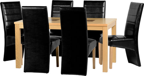 "Seconique Wexford 59"" Dining Set - G5 - Oak Veneer/Walnut Inlay/Black PU"