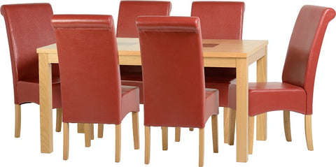 "Seconique Wexford 59"" Dining Set - G10 - Oak Veneer/Walnut Inlay/Rustic Red PU"
