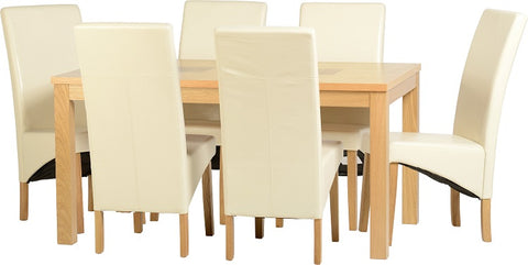 "Seconique Wexford 59"" Dining Set - G1 - Oak Veneer/Walnut Inlay/Cream PU"