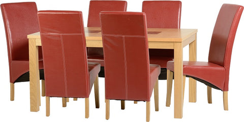 "Seconique Wexford 59"" Dining Set - G1 - Oak Veneer/Walnut Inlay/Rustic Red PU"