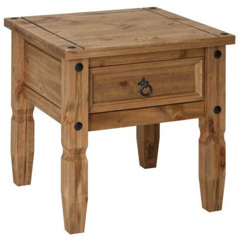 Core Products Corona Mexican Pine Style Lamp Table with Drawer