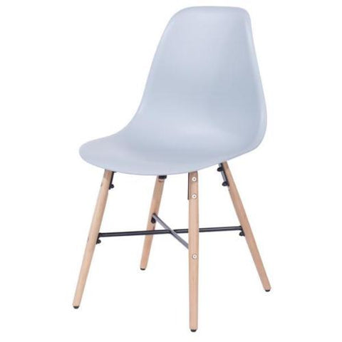 Core Products Aspen Gray Plastic Chair with Wooden Legs Metal Cross Rails