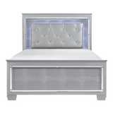 Allura LED Light Full Size Bed in Silver