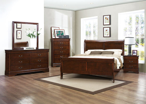 Mayville 5PC Sleigh Queen Collection in Cherry Brown