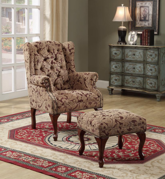 Light Brown/Burgundy Accent Chair & Ottoman