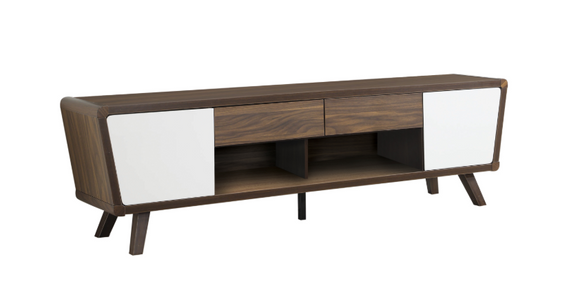 2-Drawer TV Console Dark Walnut & Glossy White