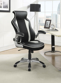 Black and White Leatherette Office Chair