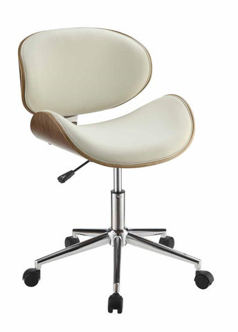 Ecru Leatherette Office Chair