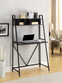 Black Writing Desk With Top Shelf