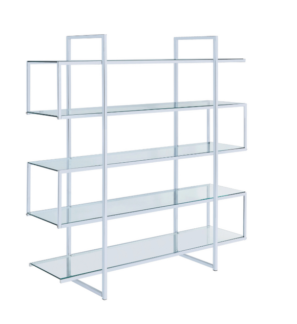 5-Shelf Bookcase Chrome and Clear