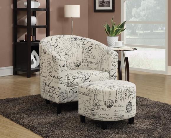 Off White French Script Upholstered Accent Chair & Ottoman