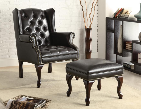 Black Leatherette Chair & Ottoman