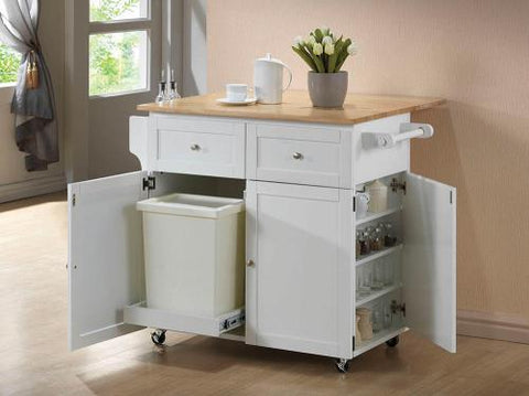 CO-White Kitchen Cart with a Natural Brown Finish