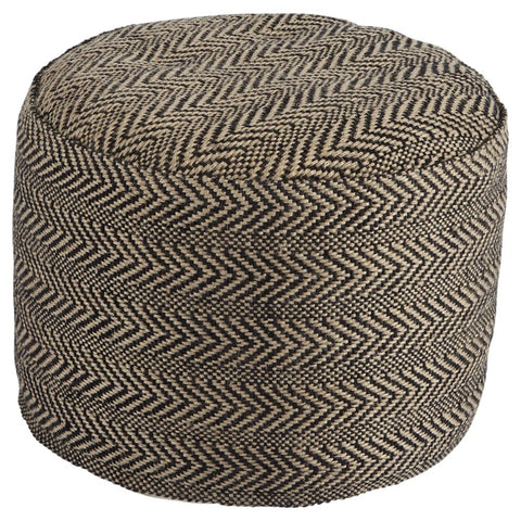 Natural Chevron Pouf