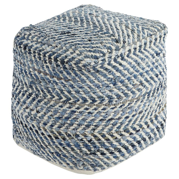 Ashley Blue Chevron Pouf