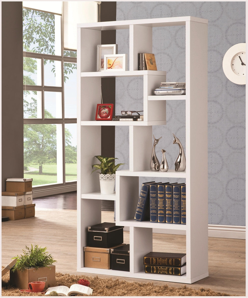 Contemporary White Geometric Bookcase Today S Home Furniture