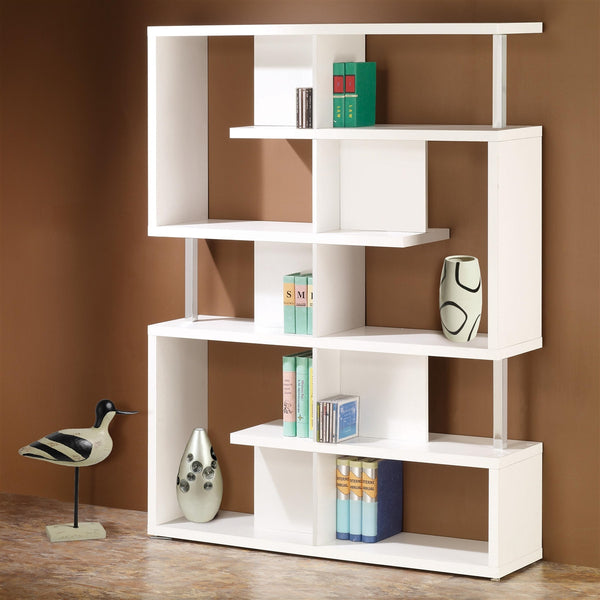 Modern White Geometric Bookcase