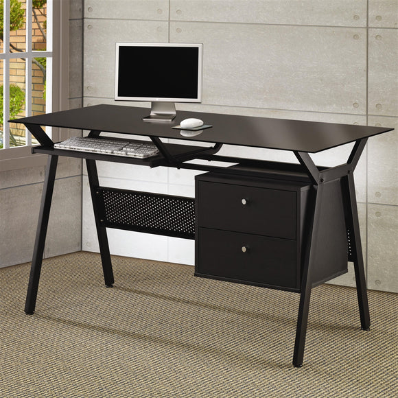 Metal and Glass Computer Desk w/ Two Storage Drawers