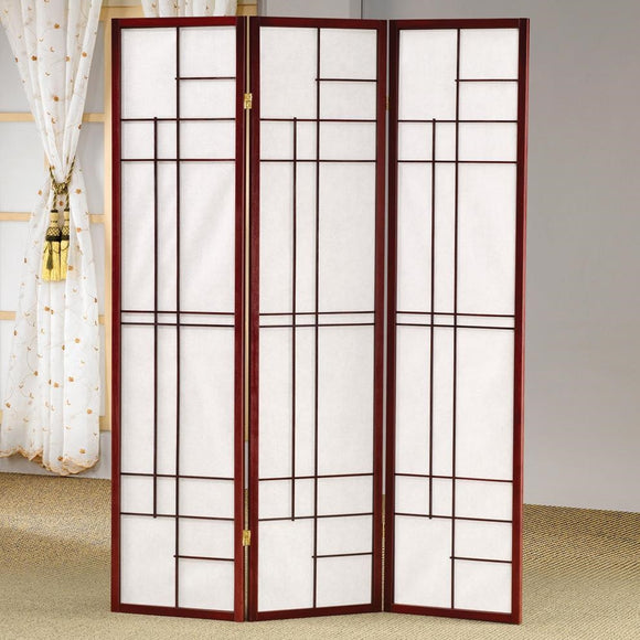 Cherry & White 3 Panel Folding Screen