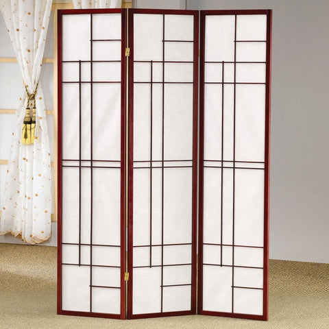 Coaster Brown-Red & White 3 Panel Folding Screen