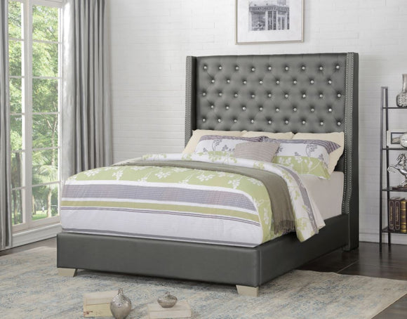 Vedette Upholstered Queen Bed in Silver