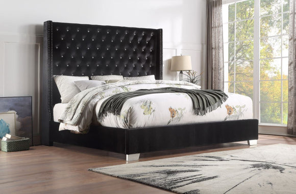 Vedette Velvet Upholstered King Bed in Black