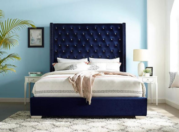Vedette Velvet Upholstered King Bed in Blue