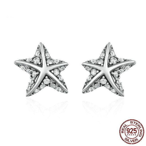 925 Sterling Silver Star Tropical Starfish Stud Earrings - Happyboca