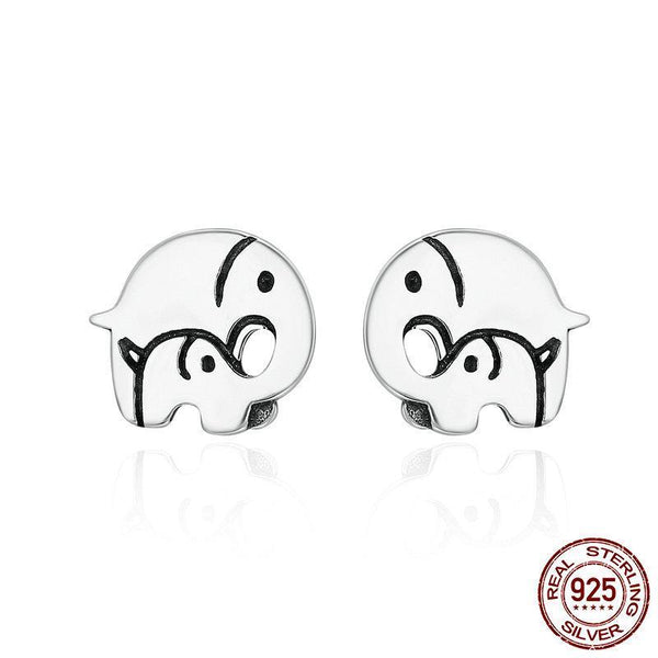 925 Sterling Silver Elephant Mother Family Love Stud Earrings - Happyboca
