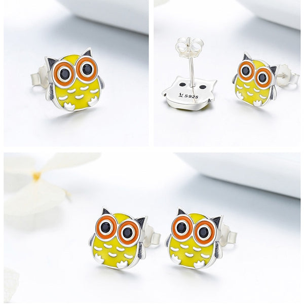 00% 925 Sterling Silver Cute Owl Animal Stud Earrings - Happyboca