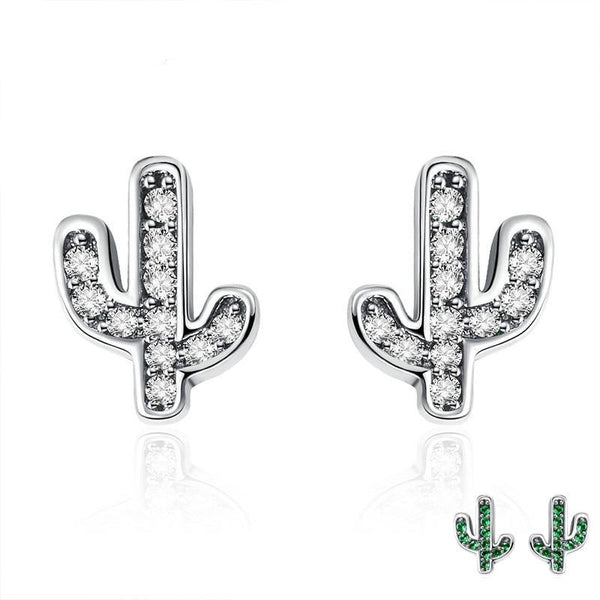 100% 925 Sterling Silver White & Green Cactus Stud Earrings - Happyboca