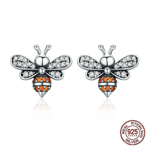 925 Sterling Silver Bee Story Clear CZ Exquisite Stud Earrings - Happyboca