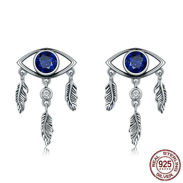 100% 925 Sterling Silver Guarding Blue Eyes Feathers Stud Earrings - Happyboca