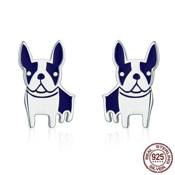 Genuine 925 Sterling Silver French Bulldog Small Stud Earrings - Happyboca