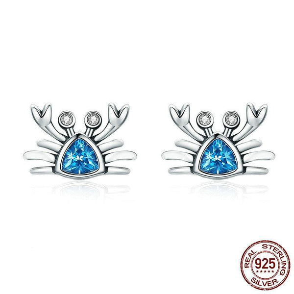 925 Sterling Silver Cute Ocean Crab Small Blue CZ Stud Earrings - Happyboca