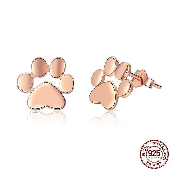 925 Sterling Silver Animal Dog Cat Footprints Gold Color Stud Earrings - Happyboca
