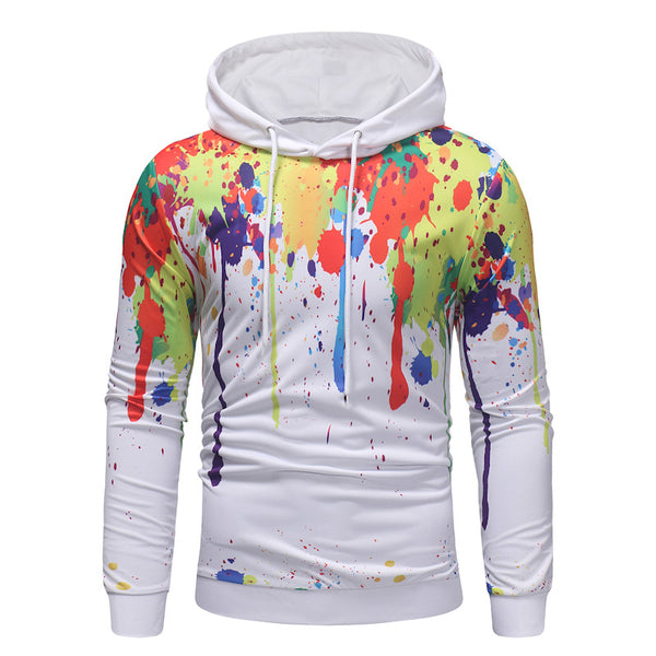 Fashion Street Style Stitching Design Print Hoodie - Happyboca