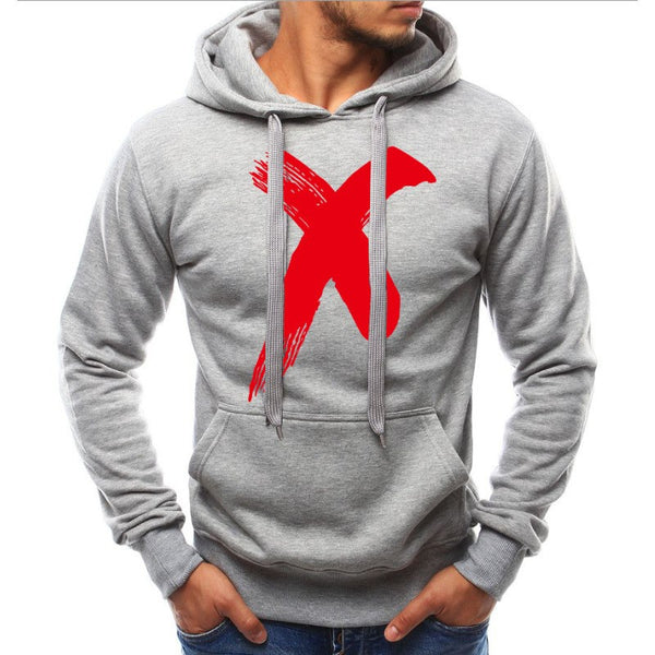Men Simple Pullover Print Hoodie - Happyboca