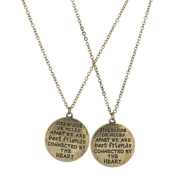 Burnish Gold Side by Side Best Friends BFF Charm Necklace (2PCS) - Happyboca