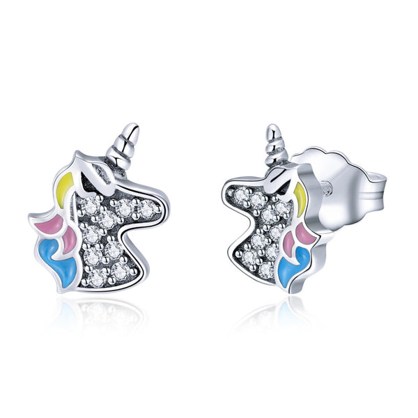 925 Sterling Silver Fashion Licorne Memory Clear CZ Stud Earrings - Happyboca