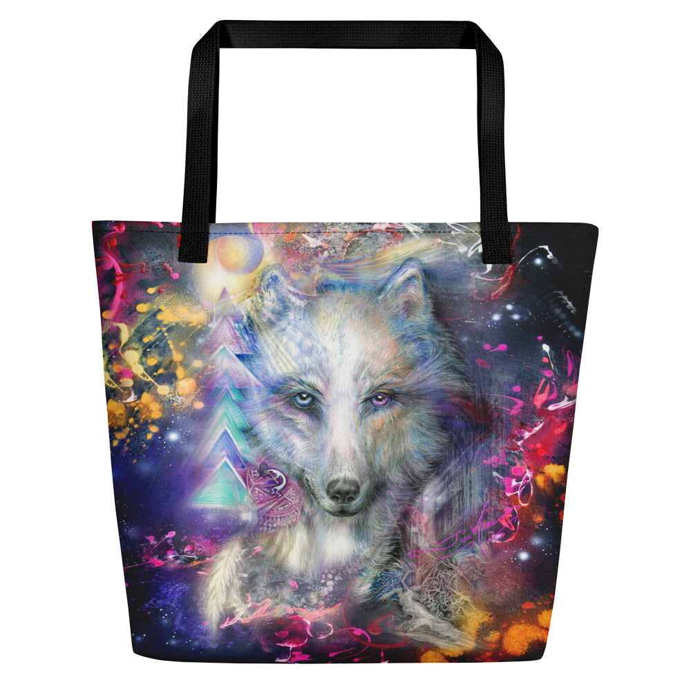 Tribal Wolf Large Tote Bag - Beach Bag