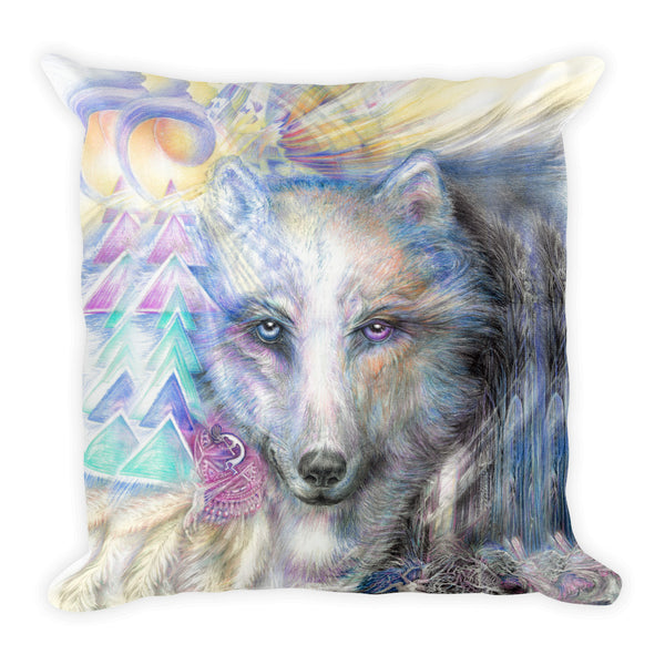 Native American Wolf Throw Pillow
