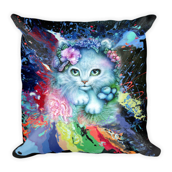 Cat, Precious Blue Square Pillow