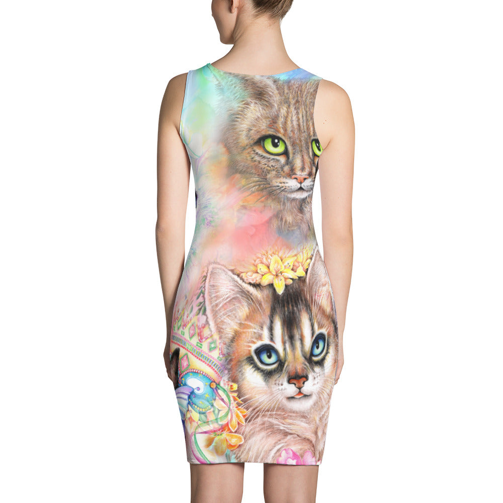 Crazy Cats, Printful, Sublimation Cut & Sew Dress
