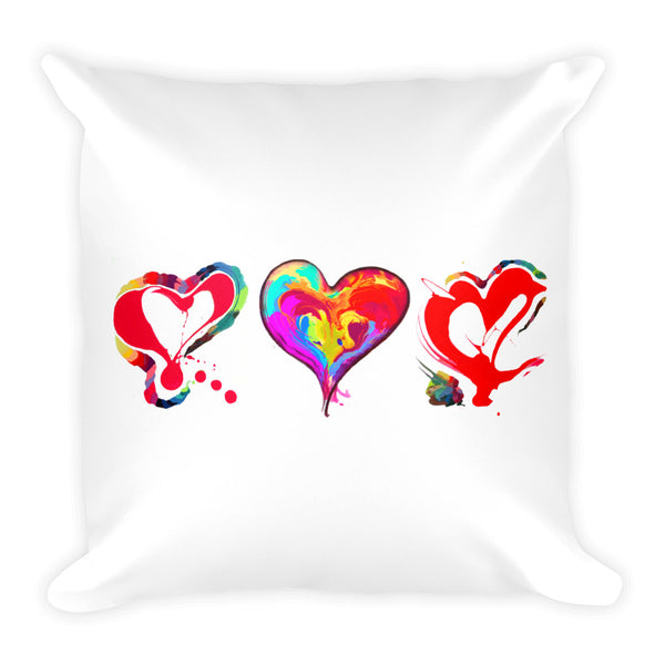 3 Hearts of LOVE!!! Square Pillow